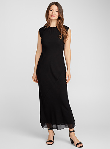 Ruched neck silk dress