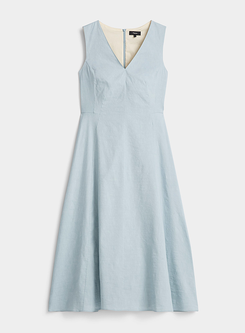 Theory Teal Seamed-waist midi dress for women