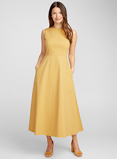Fit-and-flare chino dress