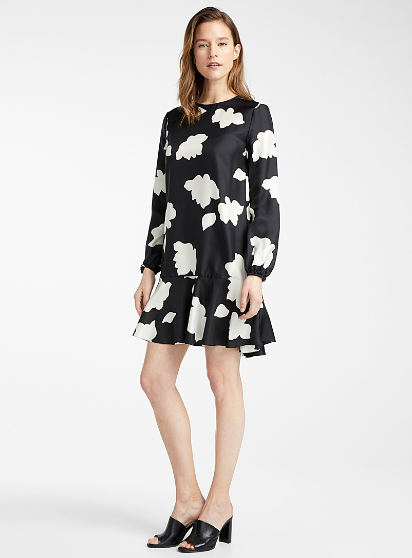 Theory Patterned Black White flowers shift dress for women