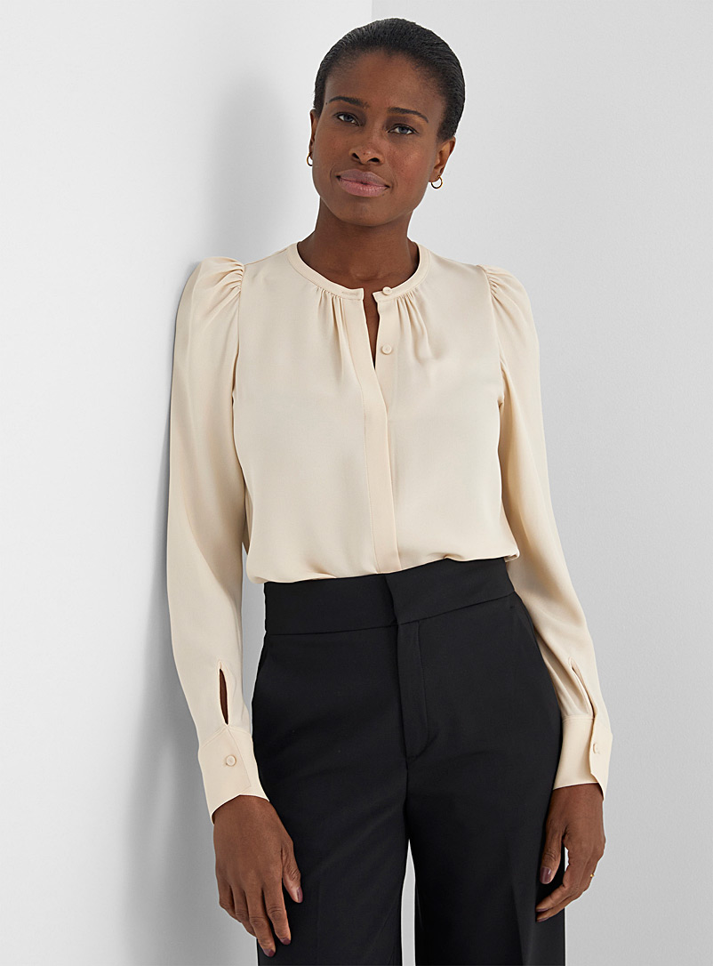 Theory Ivory White Gathered-shoulder silk blouse for women
