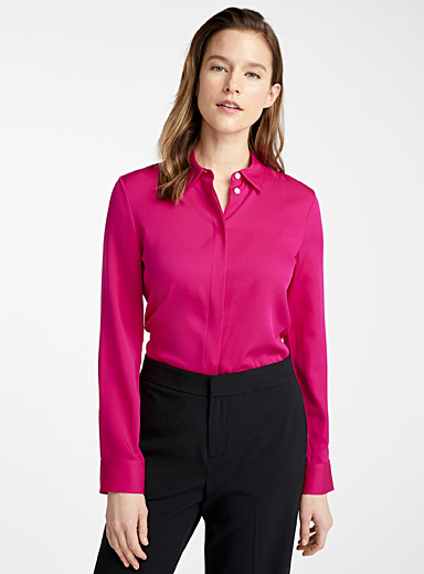 Magenta silk blouse