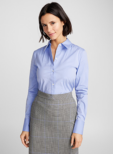 Blue cotton fitted blouse