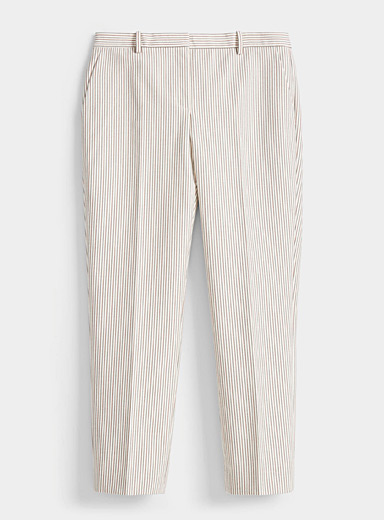 Theory Patterned White Vertical stripe pant for women