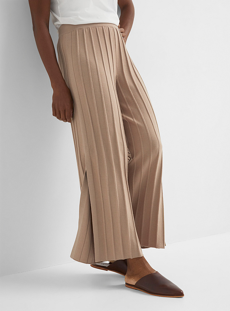 Theory Ecru/Linen Merino ribbed wide-leg pant for women