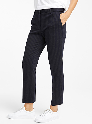 Masculine stripe straight pant