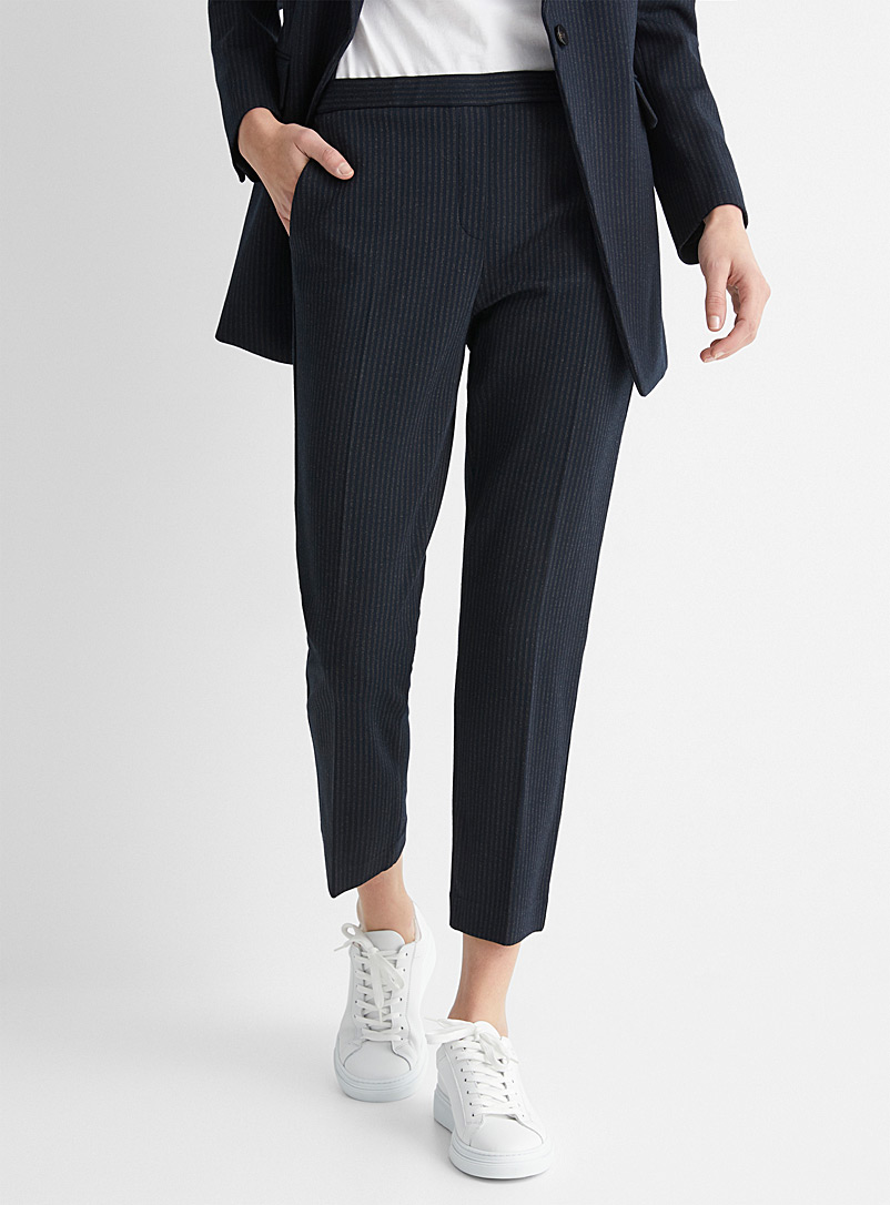 Theory Patterned Blue Soft masculine-stripe pant for women