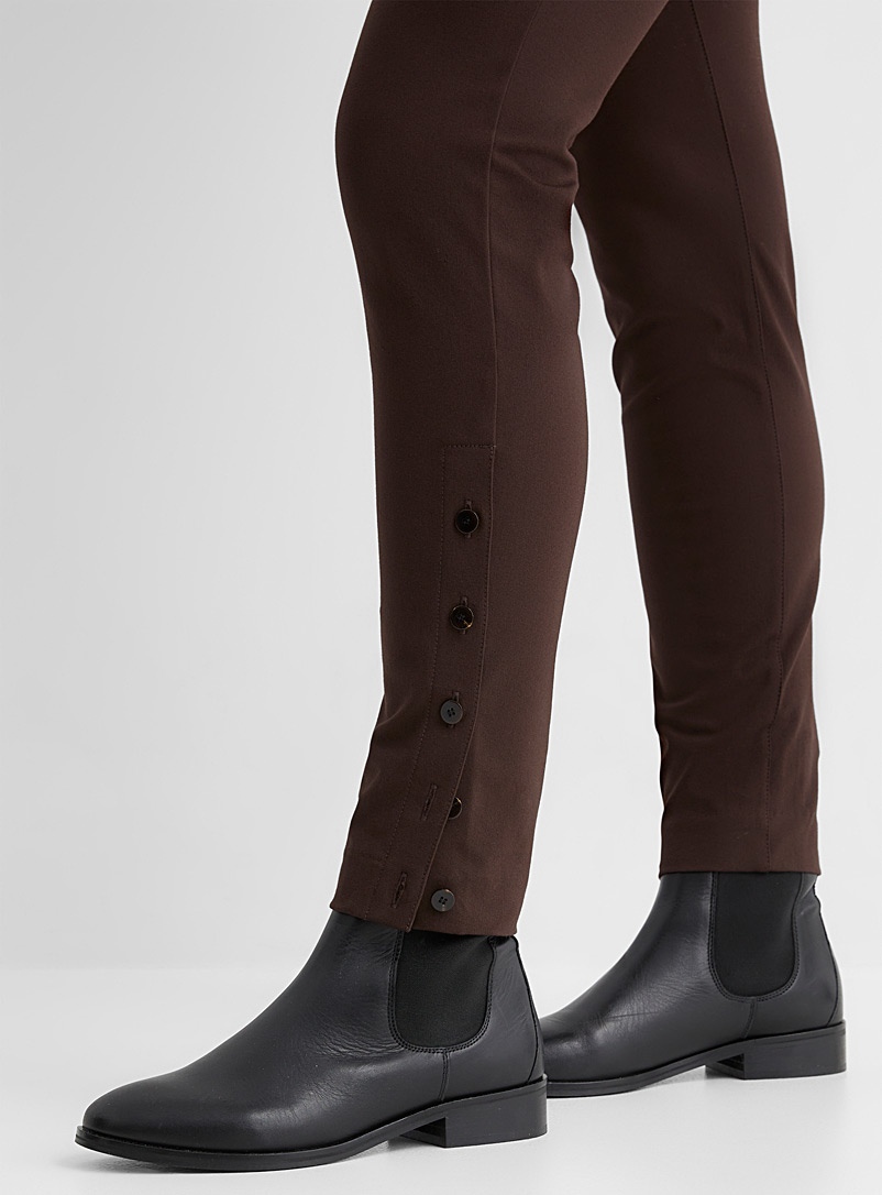 Theory Brown Buttoned-ankle legging for women