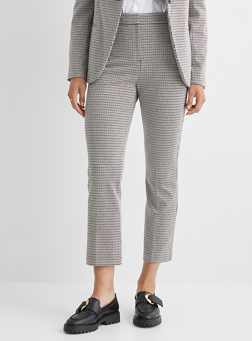 Theory Patterned Grey Houndstooth knit pant for women