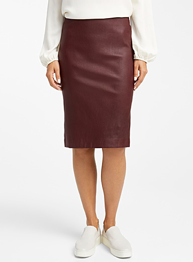Burgundy leather pencil skirt