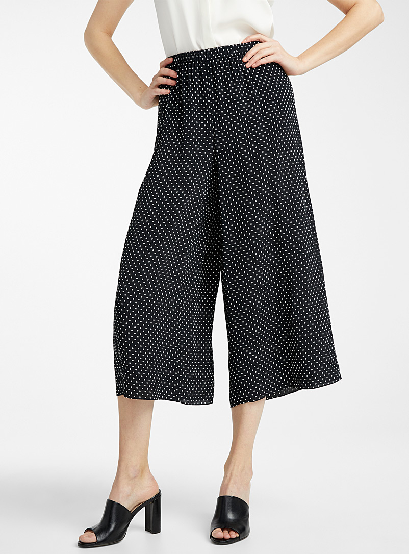 Theory Patterned Black White dot cropped pant for women