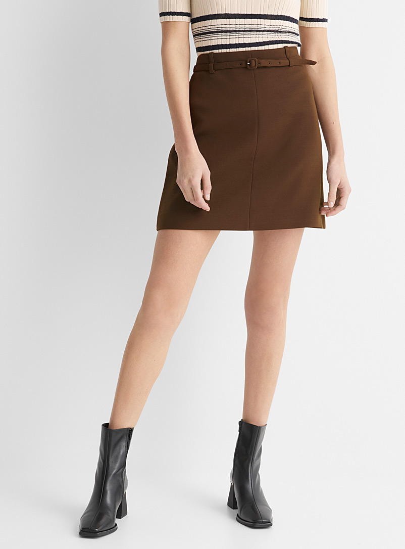 Belted wool mini skirt