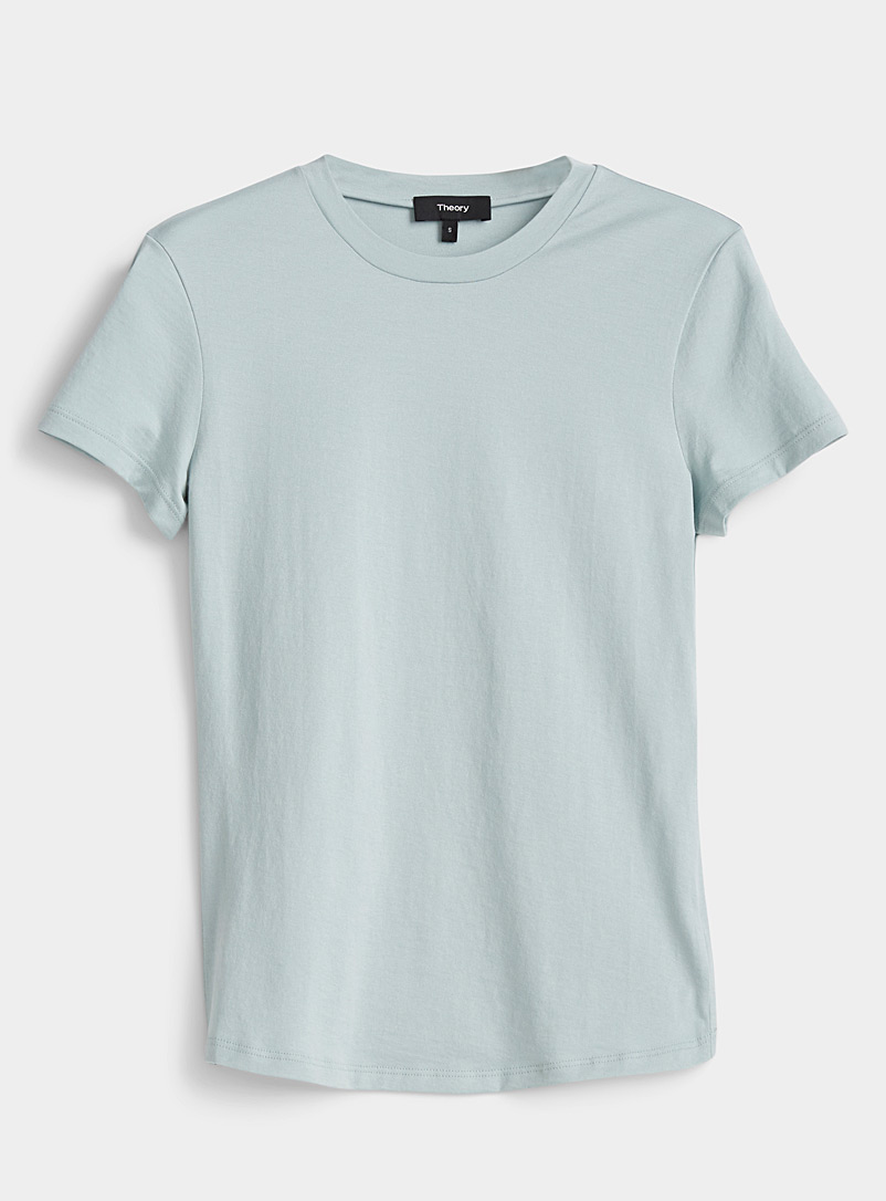 Theory Teal Sage green Pima cotton tee for women