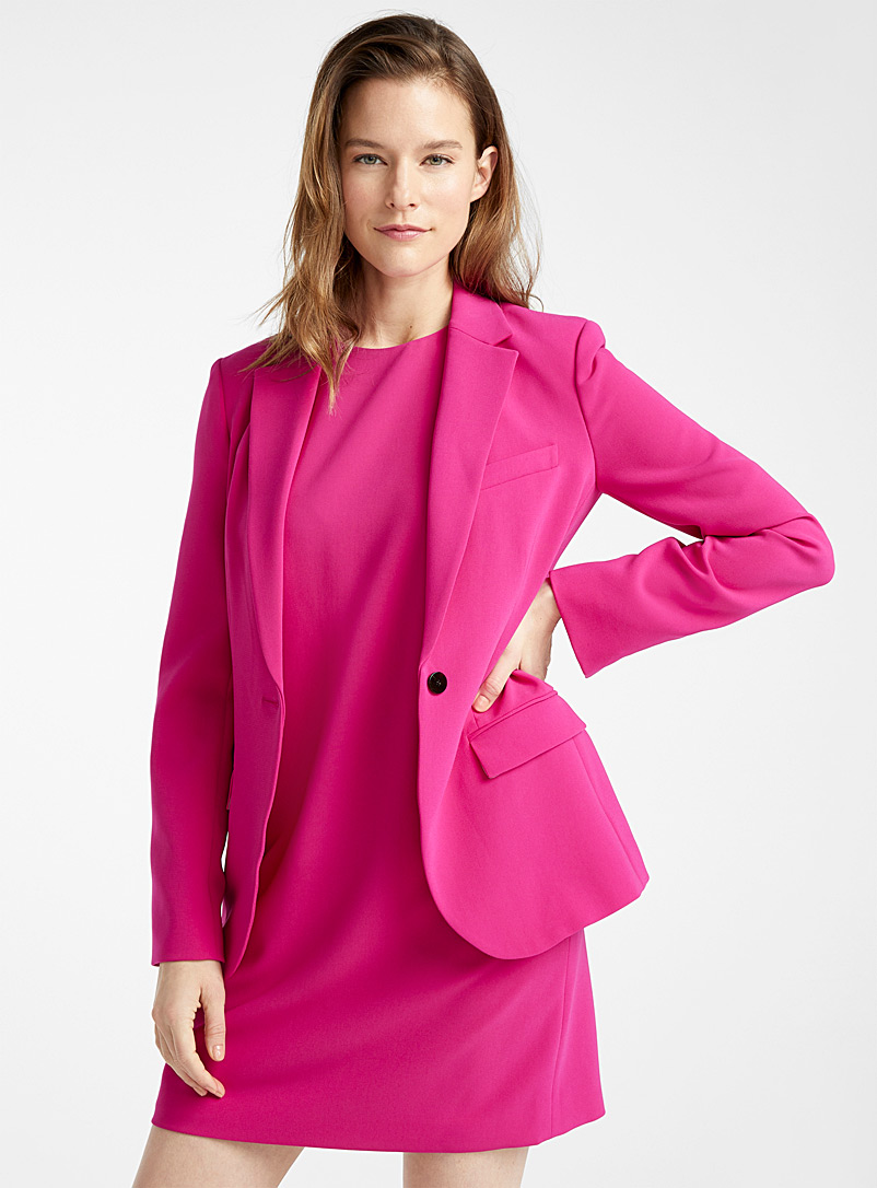 Theory Cherry Red Single-button magenta blazer for women