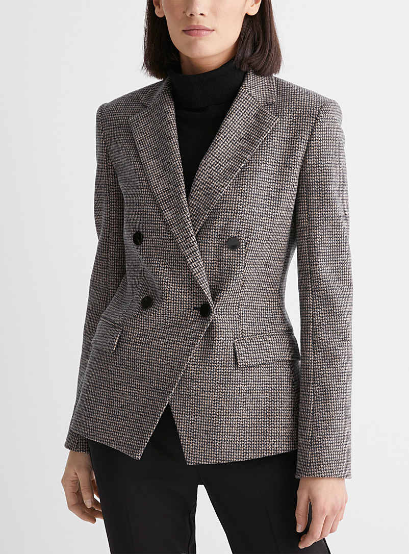 Theory Patterned Brown Checkered wool double-breasted blazer for women