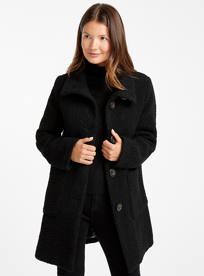 Textured wool buttoned coat - Wool - Black