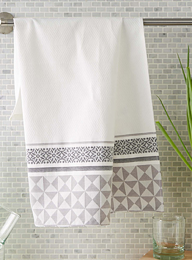 Geo-trim jacquard tea towel