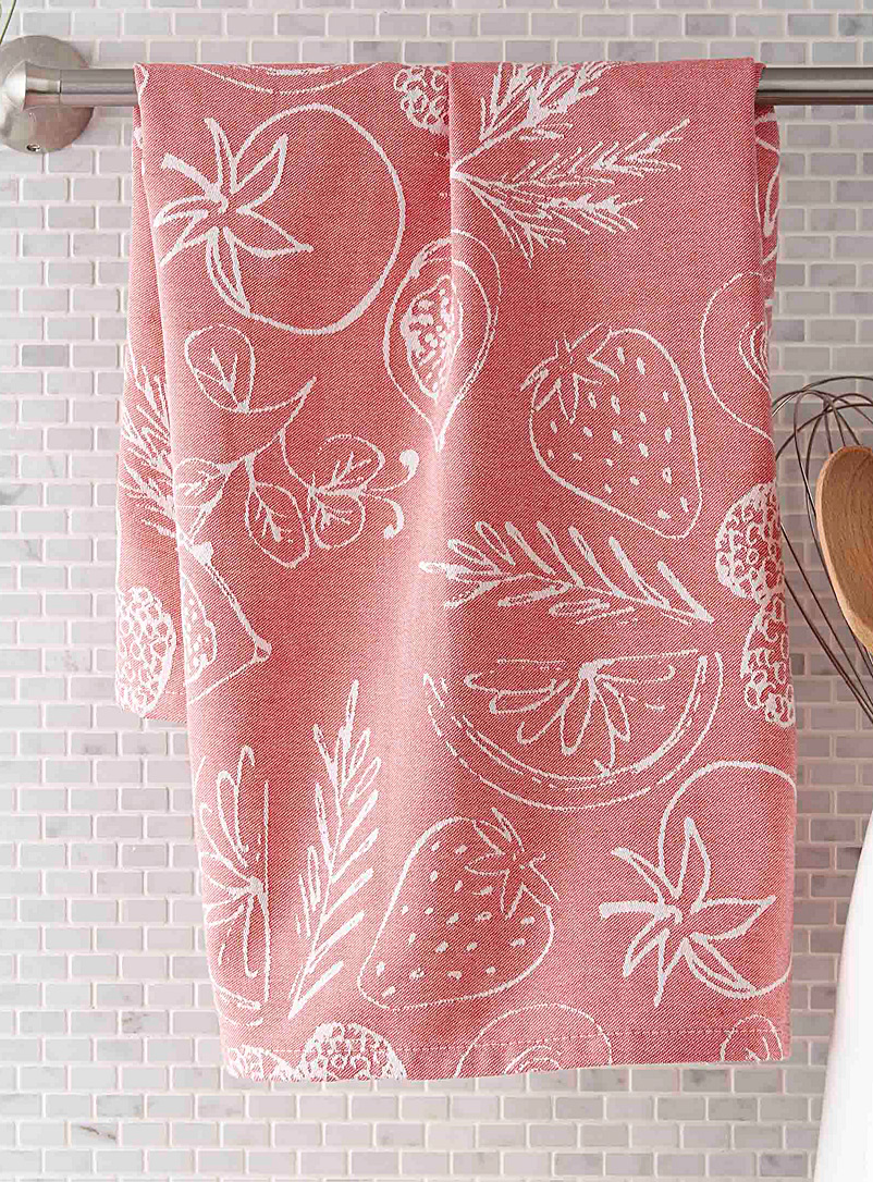 Summer fruits jacquard tea towel - Kitchen Linens - Red