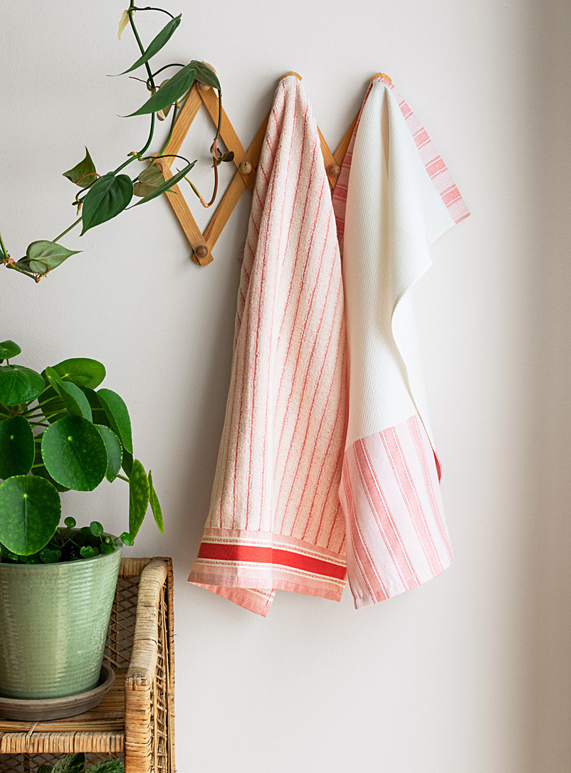 Simons Maison Red Pink stripe towels  Set of 2