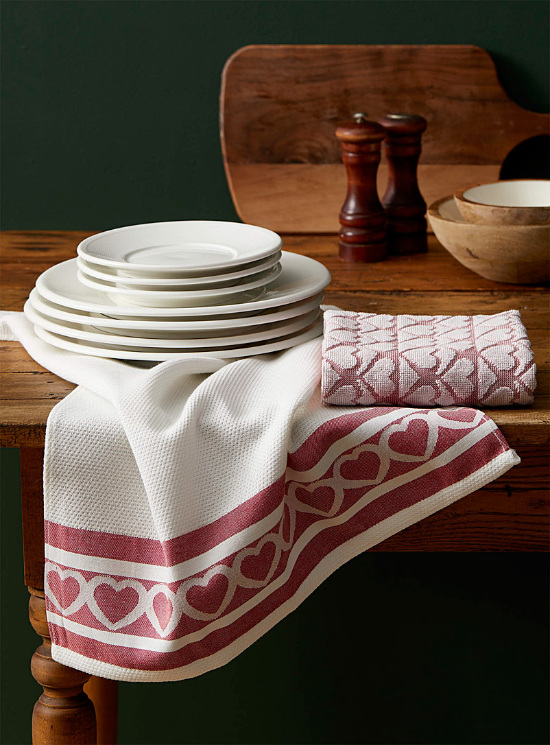 Simons Maison Patterned White Whole-hearted towels Set of 2