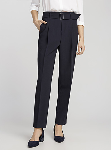Belted structured semi-slim pant