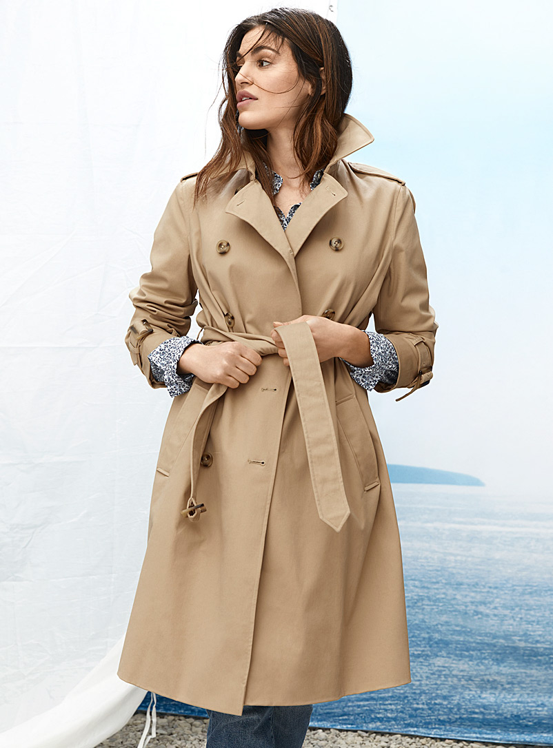 Contemporaine Fawn Authentic belted cotton trench coat for women