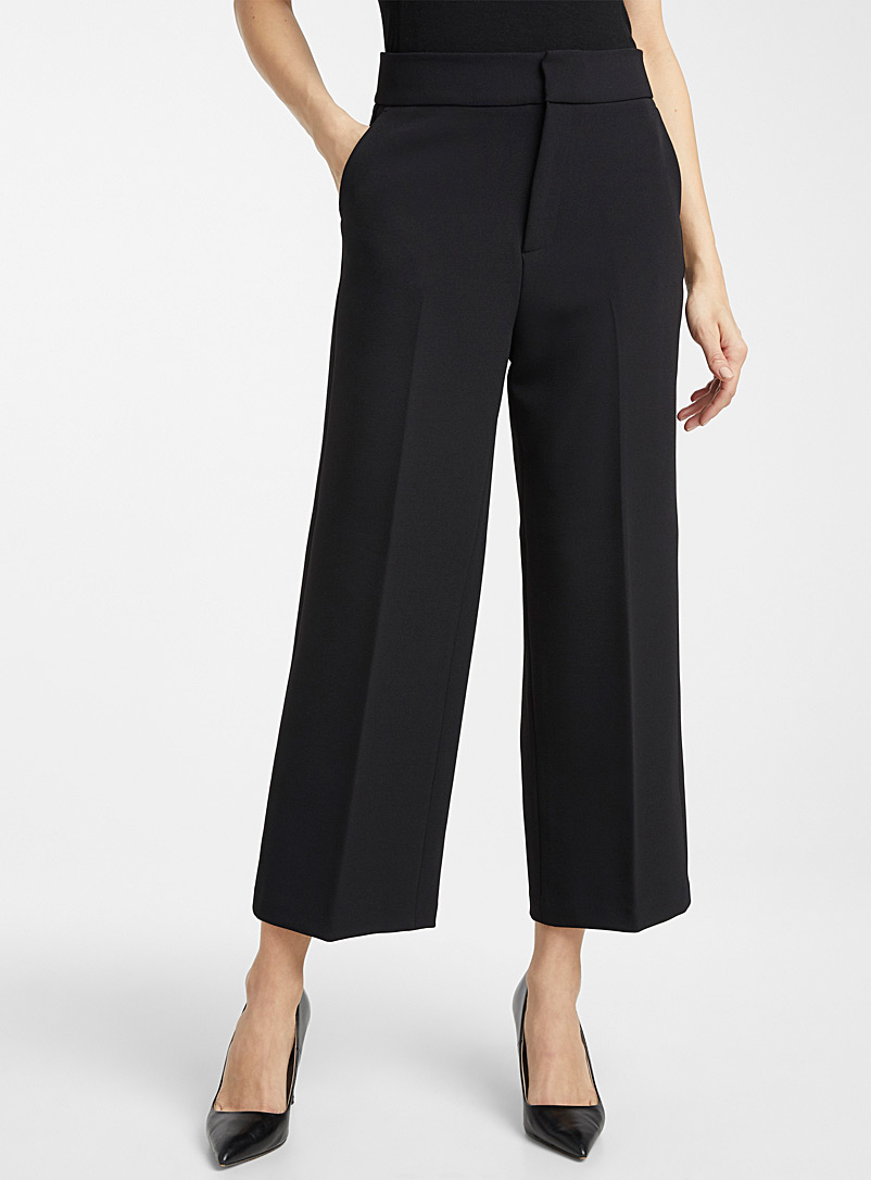 Contemporaine Black Stretch wide-leg crop pant for women