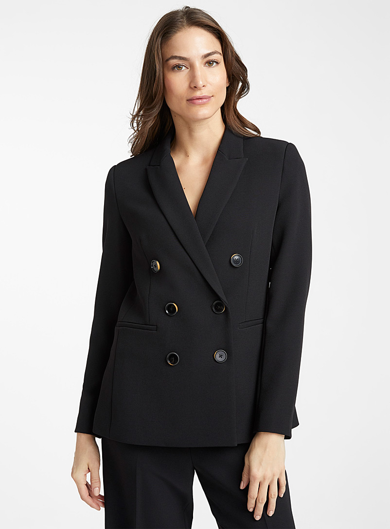 Contemporaine Black Stretch double-breasted blazer for women