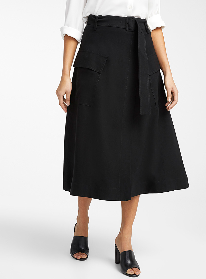 Contemporaine Black Cargo midi wrap skirt for women