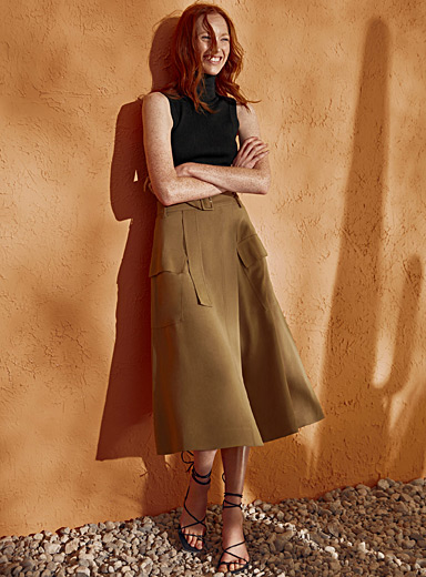 Contemporaine Toast Cargo midi wrap skirt for women