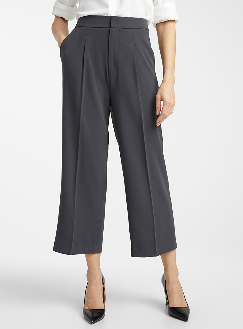 Fluid wide-leg crop pant - Pants - Dark Grey