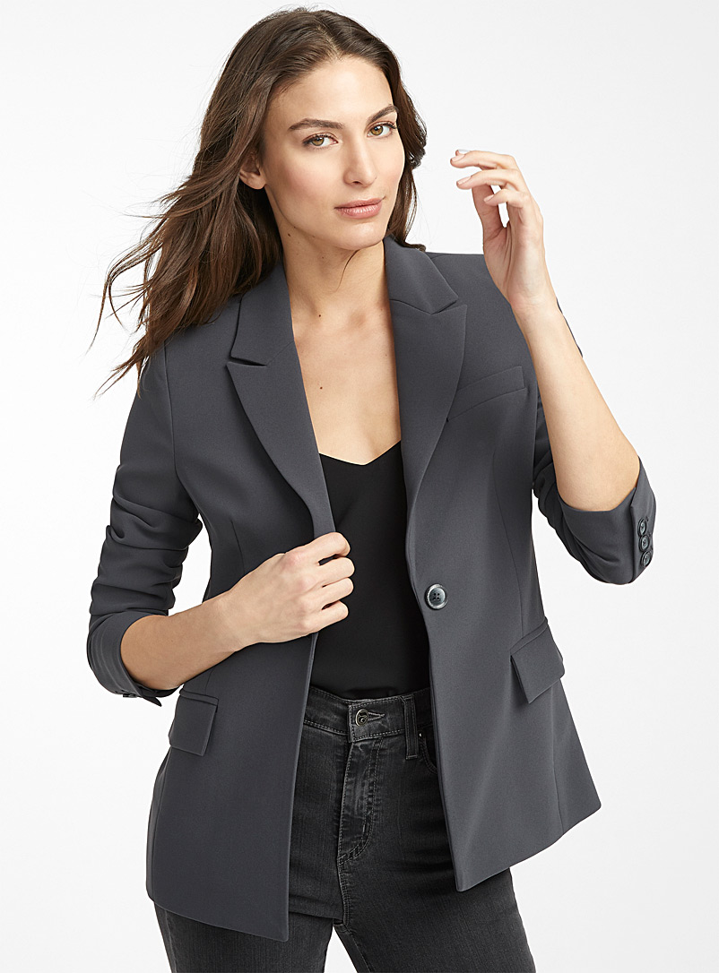 Contemporaine Dark Grey Fluid single-button jacket for women