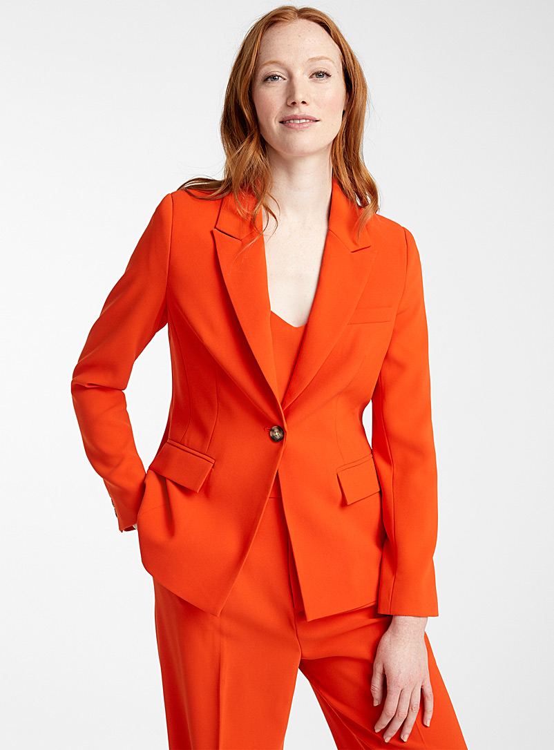 Contemporaine Dark Orange Fluid single-button jacket for women