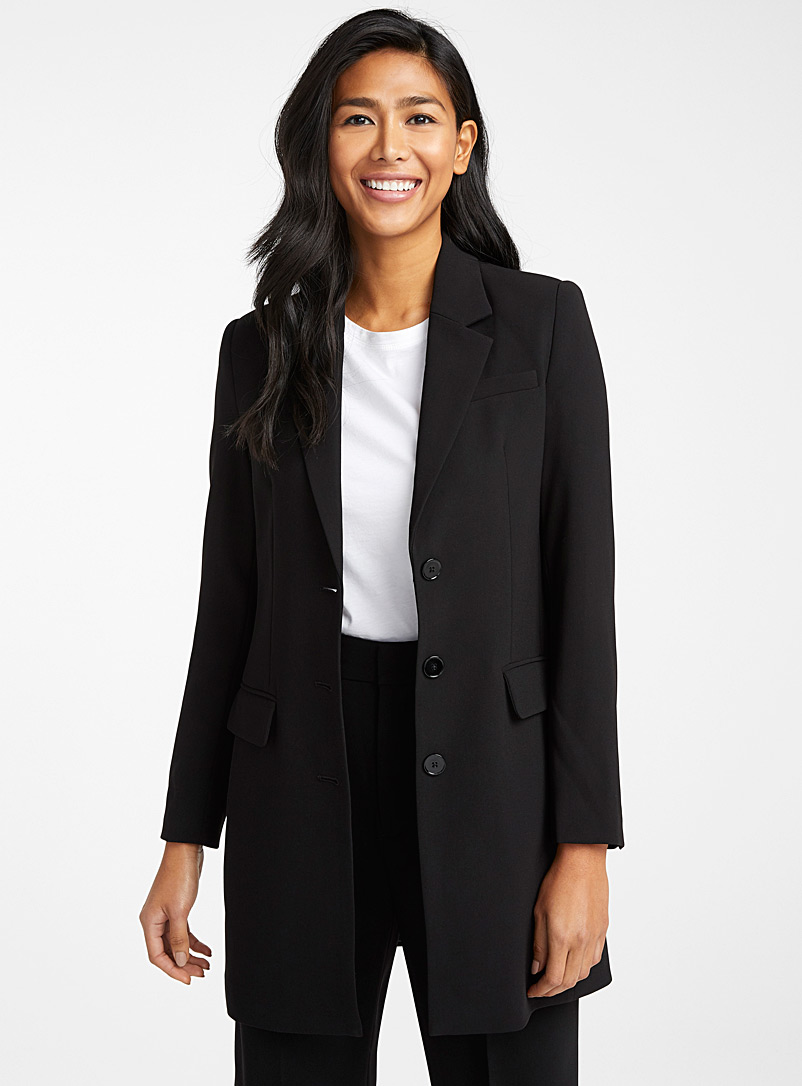 Contemporaine Black Long fluid jacket for women