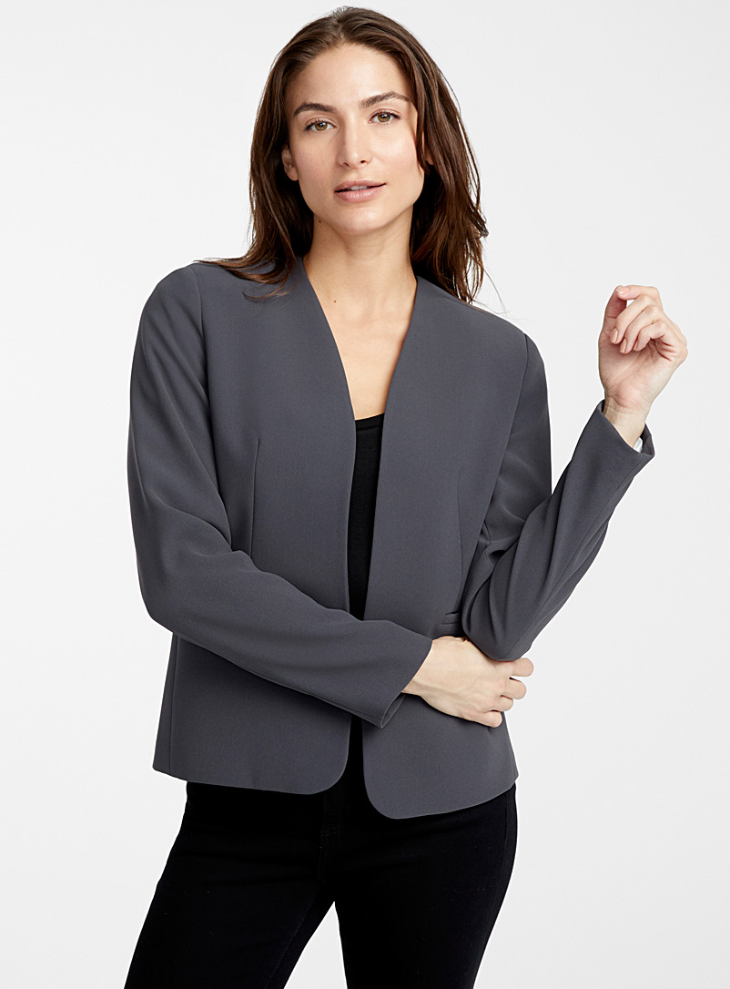 Contemporaine Dark Grey Fluid open jacket for women