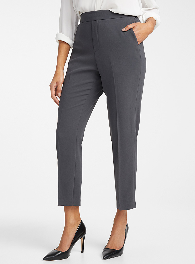 Contemporaine Dark Grey Fluid semi-slim pant for women