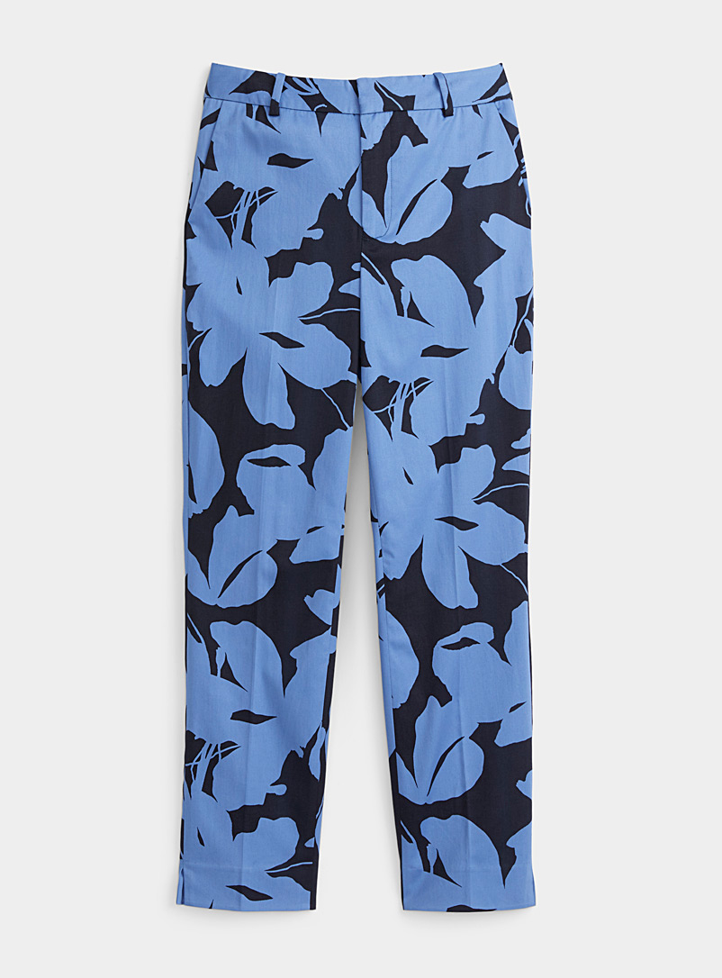 Contemporaine Patterned Blue Lush garden cotton sateen pant for women