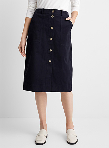 Structured cotton button-up skirt