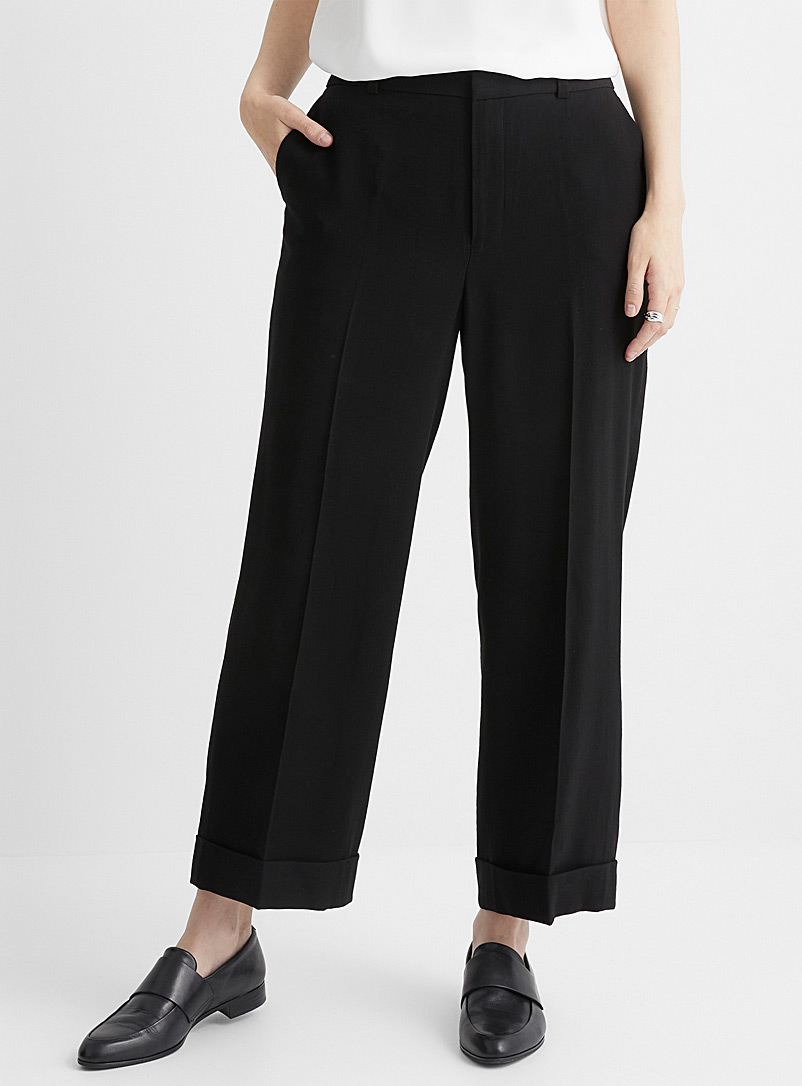 Contemporaine Black Cuffed twill straight pant for women
