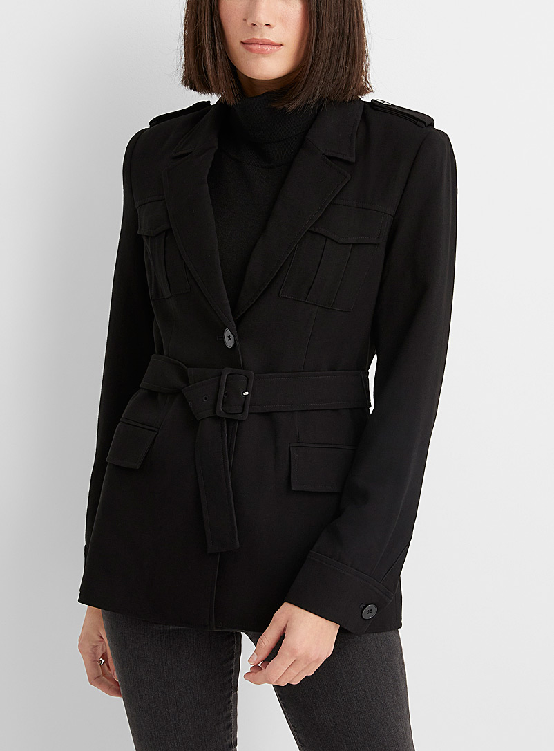 Contemporaine Black Belted utility jacket for women