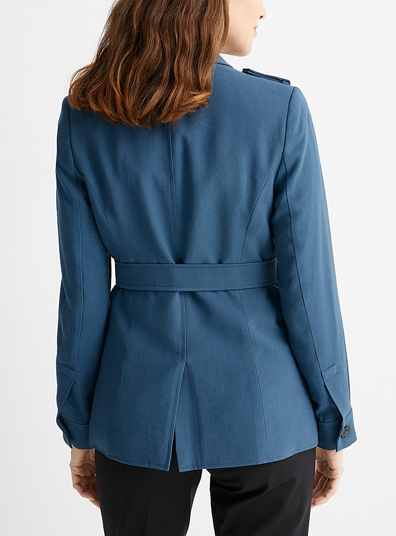 Contemporaine Slate Blue Belted utility jacket for women
