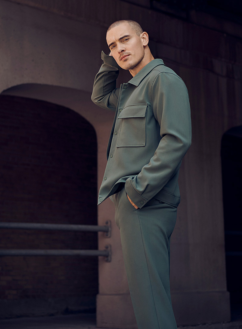 Le 31 Mossy Green Worker shacket for men