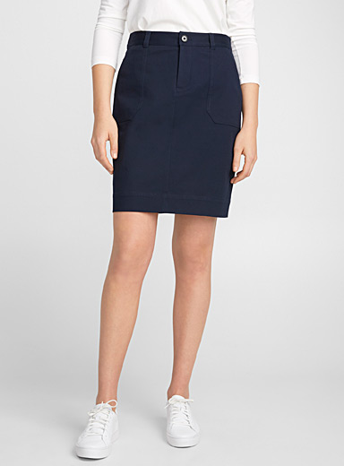 Cotton twill straight skirt