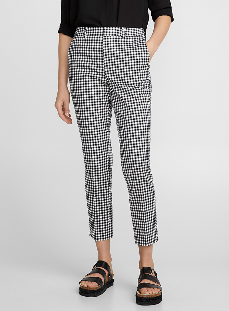 Printed cotton ankle pant - Semi-Slim - Black and White