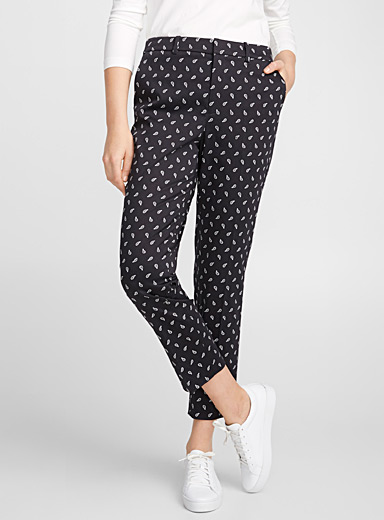 Printed cotton ankle pant
