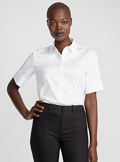 Satiny cotton short-sleeve shirt