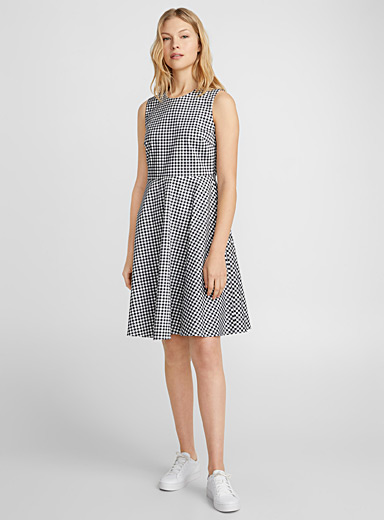 Printed cotton fit-and-flare dress