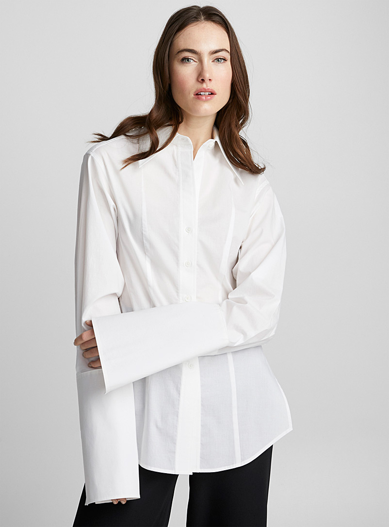Exaggerated cuffs blouse - LECAVALIER + Édito - White