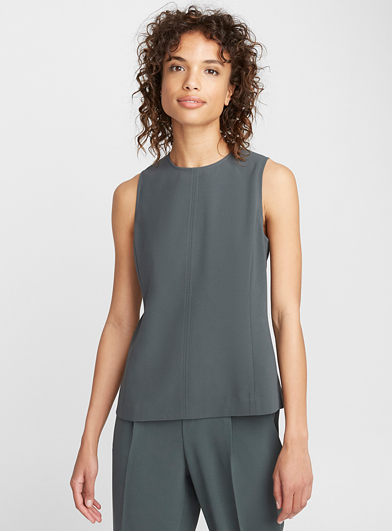 Minimalist zip back camisole - Blouses - Bottle Green