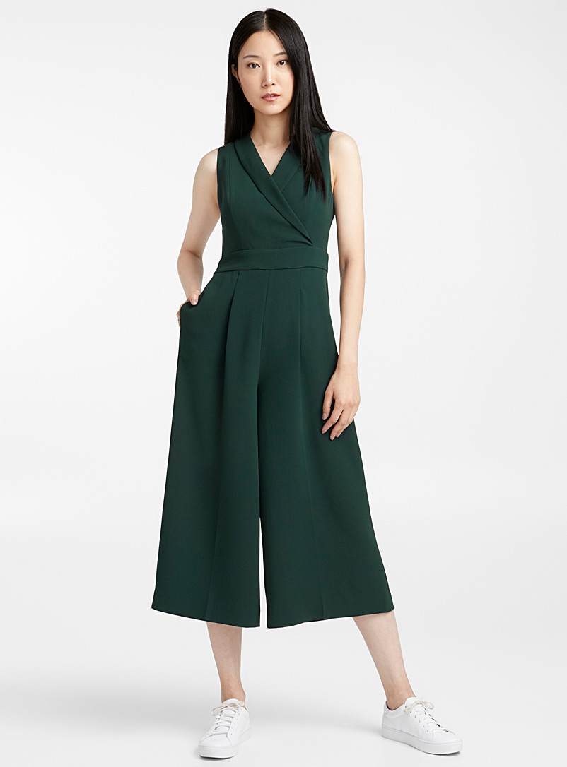 Crossover-collar tuxedo jumpsuit - Jumpsuits & Rompers - Kelly Green